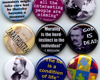 "NIETZSCHE German Philosopher Philosophy 9 Pinback 1"" Buttons Badges Pins"