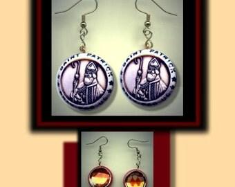 St. PATRICK Irish SAINT Pray For Us Altered Art Dangle Earrings with Rhinestone