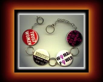 WOMAN POWER Feminist Feminism Altered Art Button Charm Bracelet with Rhinestone