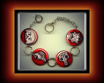 HAIDA NATIVE SYMBOLS Red Altered Art Button Charm Bracelet with Rhinestone