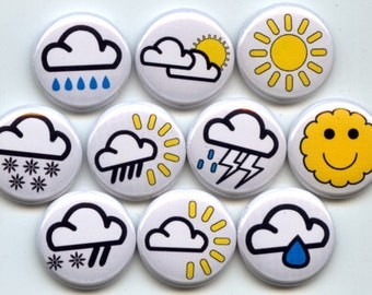 "WEATHER FORECAST Symbols Meteorology 10 Pinback 1"" Buttons Badges Pins"