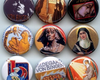 "HILDEGARD VON BINGEN  German Saint 9 Pinback 1"" Buttons Badges Pins"