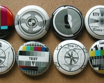 "TELEVISION Test PATTERNS TV Retro 8 Pinback 1"" Buttons Badges Pins"