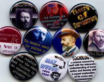 "WEBER Max German Sociologist 10 Pinback 1"" Buttons Badges Pins"