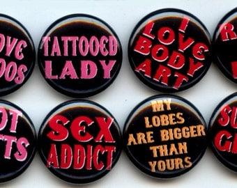 """TATTOOED LADY Tattoo Tatts 8 Pinback 1"""" Buttons Badges Pins"""