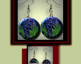 TEXAS BLUEBONNET State Flower Altered Art Dangle Earrings with Rhinestone