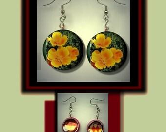 CALIFORNIA GOLDEN POPPY State Flower Altered Art Dangle Earrings with Rhinestone