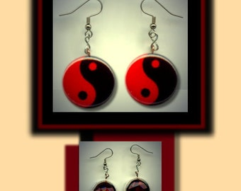 YIN YANG ZEN Symbol Red and Black Altered Art Dangle Earrings with Rhinestone
