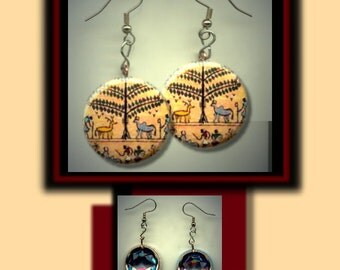 TREE of LIFE Ancient EGYPTIAN Egypt Mythology Altered Art Dangle Earrings with Rhinestone