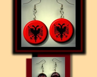 ALBANIA ALBANIAN World Flag Altered Art Dangle Earrings with Rhinestone