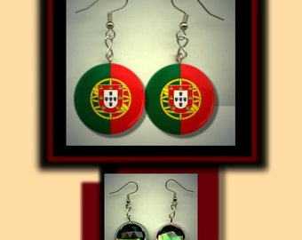 PORTUGAL PORTUGESE World Flag Altered Art Dangle Earrings with Rhinestone