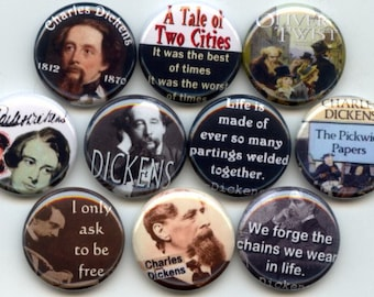 """CHARLES DICKENS Canterbury Tales 10 Pinback 1"""" Buttons Badges Pins"""