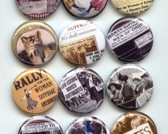 "SUFFRAGE Womens Rights Feminist Feminism 12 Pinback 1"" Buttons Badges Pins"