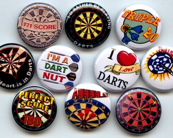 "DARTS Dart Lover  10  Pinback 1"" Buttons Badges Pins"