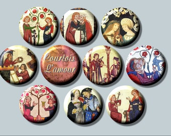 "COURTLY LOVE Medieval Renaissance France ROMANCE 10  Pinback 1"" Buttons Badges Pins"