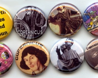 "COPERNICUS Ancient Astronomer Mathematician 8  Pinback 1"" Buttons Badges Pins"