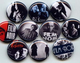 "FILM NOIR Dark Drama 10 Pinback 1"" Buttons Badges Pins"