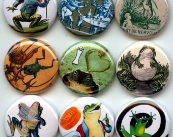 """FROGS Toads 9 Pinback 1"""" Buttons Badges Pins"""