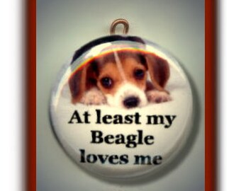 At least my BEAGLE LOVES ME Pet Dog Altered Art Charm Pendant with Rhinestone