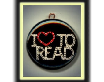 I LOVE TO READ Altered Art Charm Pendant with Rhinestone