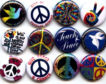 "PEACE SIGNS Anti War 12 Pinback 1"" Buttons Badges Pins"