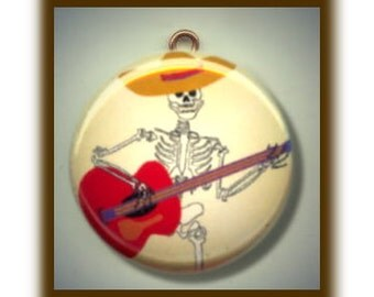 DAY of the DEAD Mexican Skeleton with Guitar Altered Art Charm Pendant with Rhinestone