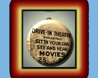 Drive In Movie Theater Altered Art Charm Pendant with Rhinestone