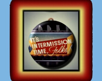 INTERMISSION Drive In Movie Theater Altered Art Charm Pendant with Rhinestone