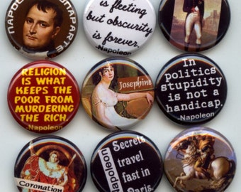 "NAPOLEON Bonaparte French Revolution 9 Pinback 1"" Buttons Badges Pins"
