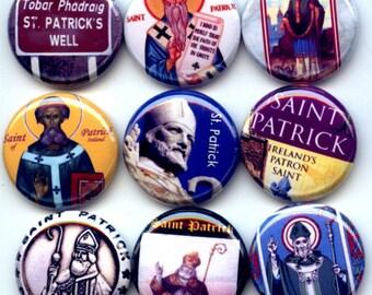 "ST. Saint PATRICK Patron of Ireland 9 Pinback 1"" Buttons Badges Pins"