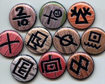 "HOBO SYMBOLS Signs 10 Pinback 1"" Buttons Badges Pins Set 2"