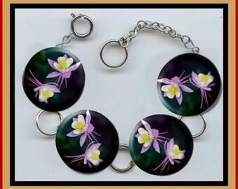 COLORADO Columbine STATE FLOWER Charm Bracelet with Rhinestones Altered Art Jewelry
