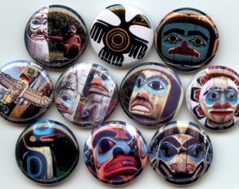 "TOTEM Native Totem Poles 10 Pinback 1"" Buttons Badges Pins"