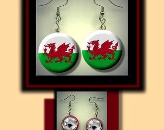 WALES Welsh World Flag Altered Art Dangle Earrings with Rhinestone