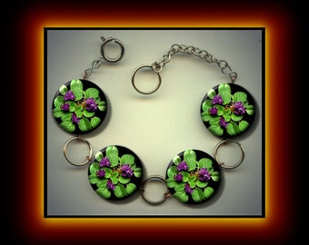 AFRICAN VIOLETS Charm Bracelet with Rhinestones Altered Art Jewelry