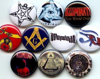 "ILLUMINATI 10 Pinback 1"" hand pressed Buttons Badges Pins"