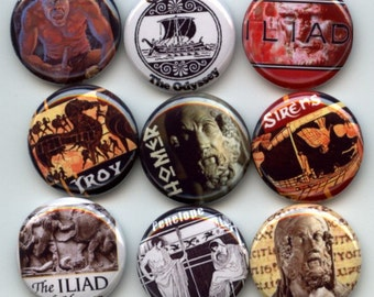 """HOMER Ancient Greek Poet Iliad Odyssey 9 Pinback 1"""" hand pressed Buttons Badges Pins"""