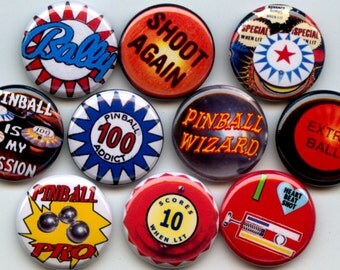 """PINBALL Arcade Game lover 10 Pinback 1"""" hand pressed Buttons Badges Pins"""