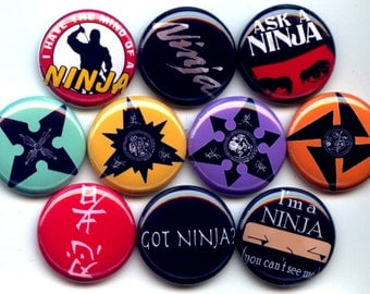 "SHURIKEN Ninja Throwing Stars Japanese 10 Hand Pressed Pinback 1"" Buttons Badges Pins"