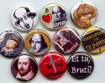 "SHAKESPEARE William 10 Hand Pressed Pinback 1"" Buttons Badges Pins"