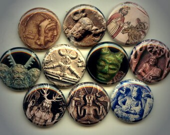 """CERNUNNOS Ancient celtic Horned God of Fertility 10 Hand Pressed Pinback 1"""" Buttons Badges Pins"""