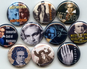 "BEETHOVEN Classical Music Composer conductor 10 Pinback 1"" Buttons Badges Pins"