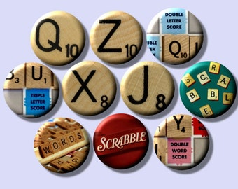 """SCRABBLE Game Lover 10 Pinback 1"""" Buttons Badges Pins"""