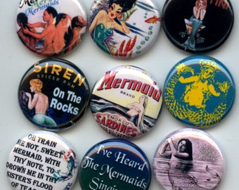 """MERMAIDS Siren of the Sea 9 Pinback 1"""" Buttons Badges Pins"""