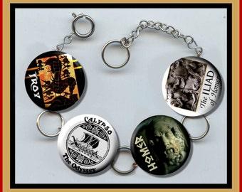 HOMER Iliad Troy the Odyssey Charm Bracelet with Rhinestones Altered Art Jewelry