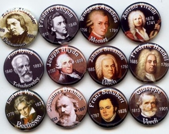 "CLASSICAL Music COMPOSERS 12 Pinback 1"" Buttons Badges Pins"