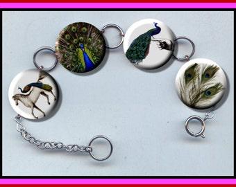 PEACOCK Exotic Birds Assorted Charm Bracelet with Rhinestones Altered Art Jewelry