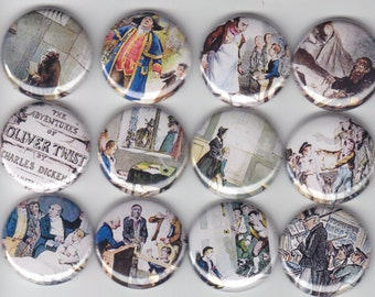 """OLIVER TWIST Classic Dickens 12 Pinback 1"""" Buttons Badges Pins"""