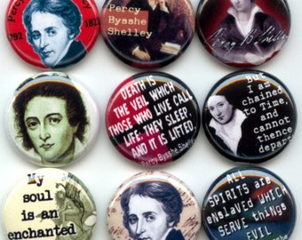 "Percy Bysshe Shelley victorian English Romantic Lyric Poet 9 Pinback 1"" Buttons Badges Pins"