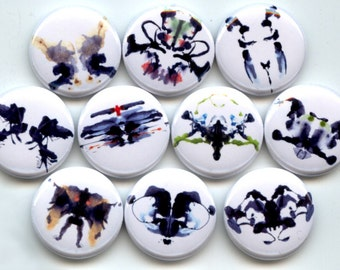 """INK BLOTS Rorschach Psychology 10 Pinback 1"""" hand pressed Buttons Badges Pins"""